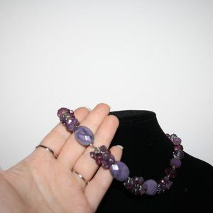 Vintagejelyfish Jewelry - Beautiful silver and purple statement necklace